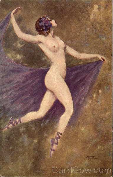 Naked Woman With Purple Scarf GAYAC Art