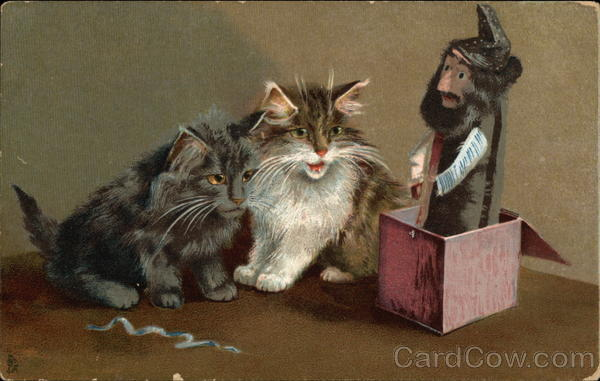Two Cats And a Jack-in-the-box Maurice Boulanger
