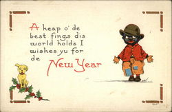 Black Boy and Dog - New Year Wishes
