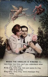 Couple with Cupid and Roses Postcard