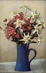 Bouquet of Flowers in Blue Vase