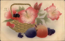 Basket of Pink Flowers next to Fruit