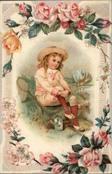 Little Boy with Butterfly Net and Jar