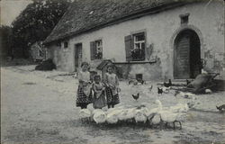 Three Girls with Flock of Geese