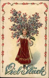 Girl in red dress with a bunch of flowers Postcard