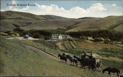 Horse-Drawn Wagon and Farm Scene in Rolling Hills