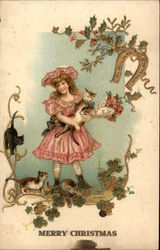 Young Girl with Cats, Holly and a Lucky Horseshoe