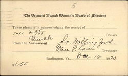 The Vermont Branch Woman's Board of Missions