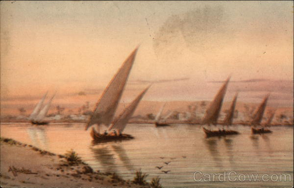 Felukas sailing on the Nile at sunset Egypt Africa