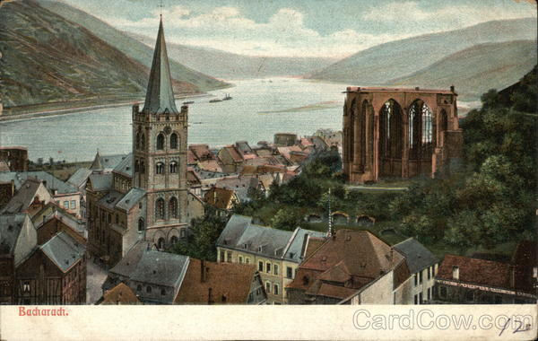 View of Town and River Bacharach Germany