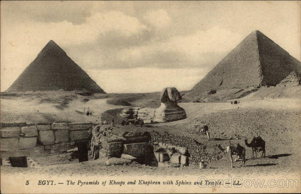 Pyramids of Kheops and Khephren with Sphinx and Temple Giza Egypt