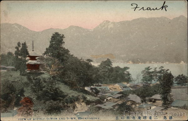 View of double-tower and town, Itsukushima Hatsukaichi Japan