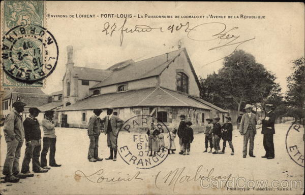 Locmalo Fish Shop and the Avenue of the Republic, Around Lorient Port-Louise France