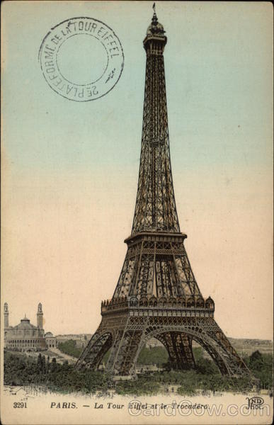 The Eiffel Tower and the Trocadero with Postmark Paris France