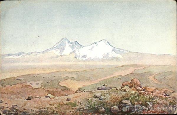 Painting of White-Capped Mountainscape Art