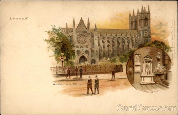 View of Westminster Abbey With Inset of Poet's Corner london England