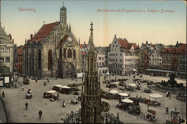 Market Place, with The Church of Our Lady and a Beautiful Fountain Nuremberg Germany