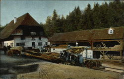 An old time lumber mill scene