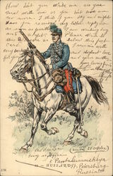 Pen and Ink of Military Man on Horseback
