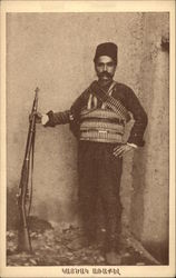 Armenian Soldier Draped in Amunition