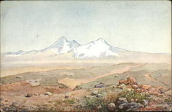 Painting of White-Capped Mountainscape