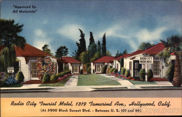 Radio City Tourist Motel Old Postcard