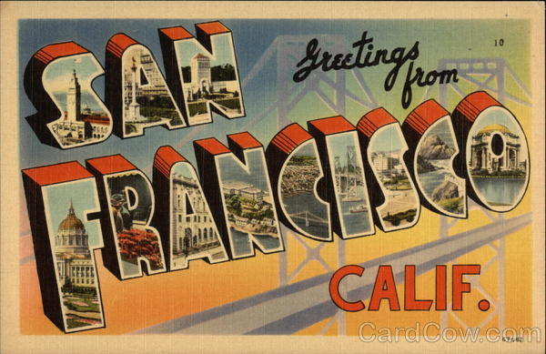 Greetings from San Francisco, California Large Letter