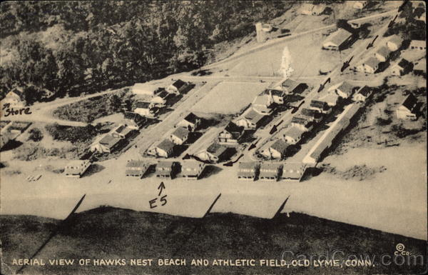 Aerial View of Hawks Nest Beach and Athletic Field Old Lyme Connecticut