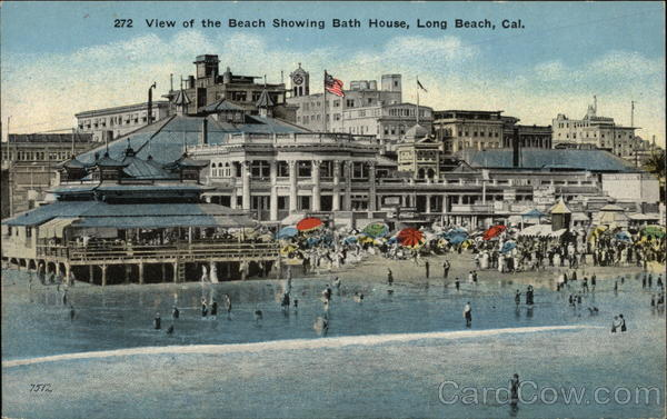 272 View of the Beach Showing Bath House Long Beach California