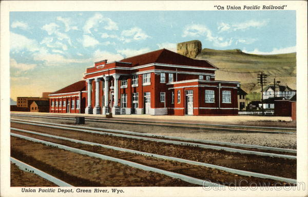 On Union Pacific Railroad - Union Pacific Depot Green River Wyoming