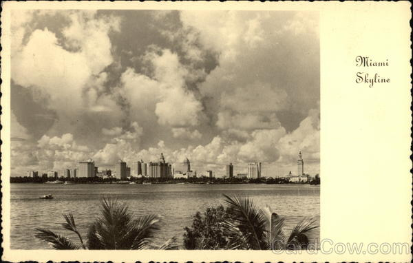 Skyline Looking across Biscayne Bay from County Causeway Miami Florida