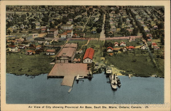 Air View of City Showing Provincial Air Base, Sault Ste. Marie Canada
