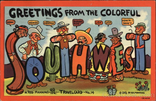 Greetings From the Colorful Southwest Cowboy Western