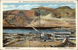 Suspension Towers which Support Conveyor Belt Across Columbia River