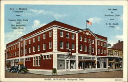 Hotel Lafayette - Facing City Park and The Beautiful Ohio River Postcard