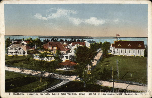 Catholic Summer School on Lake Champlain, Crab Island in the Distance Cliff Haven New York