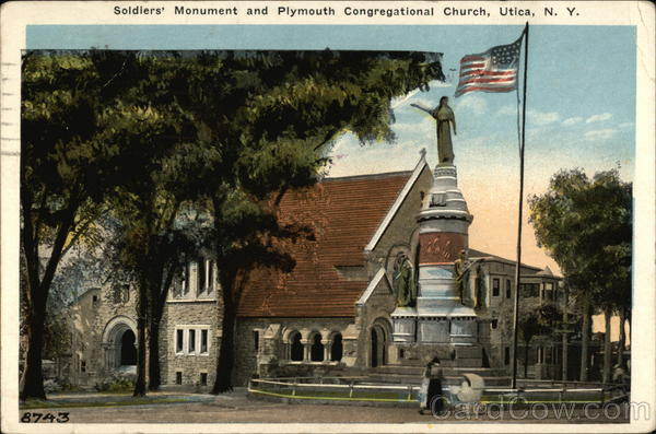 Soldiers' Monument and Plymouth Congregational Church Utica New York
