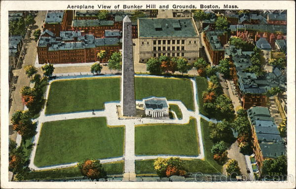 Aeroplane View of Bunker Hill and Grounds Boston Massachusetts