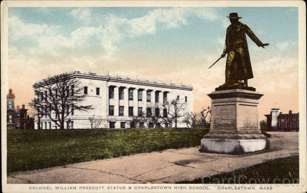 Colonel William Prescott Statue and Charlestown High School Massachusetts