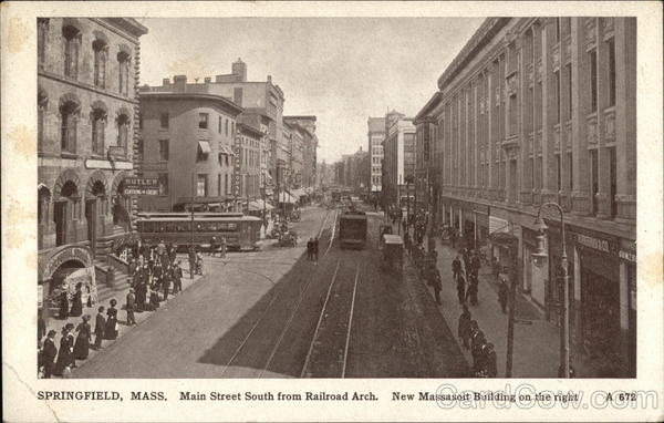 Main Street South from Railroad Arch, New Massasoit Building on the right Springfield Massachusetts
