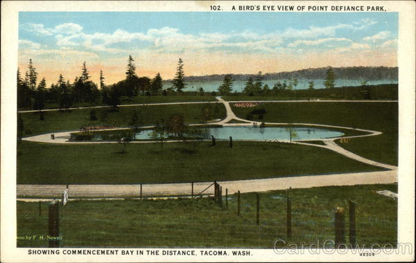 A Bird's Eye View of Point Defiance Park, Showing Commencement Bay in the Distance Tacoma Washington