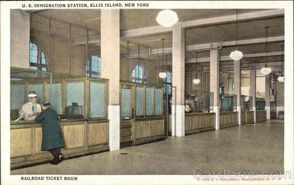 U.S. Immigration Station, Ellis Island, Railroad Ticket Room New York