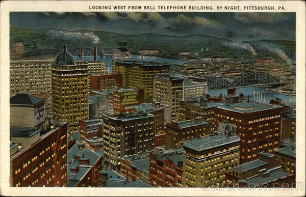 Looking West From Bell Telephone Building by Night Pittsburgh Pennsylvania