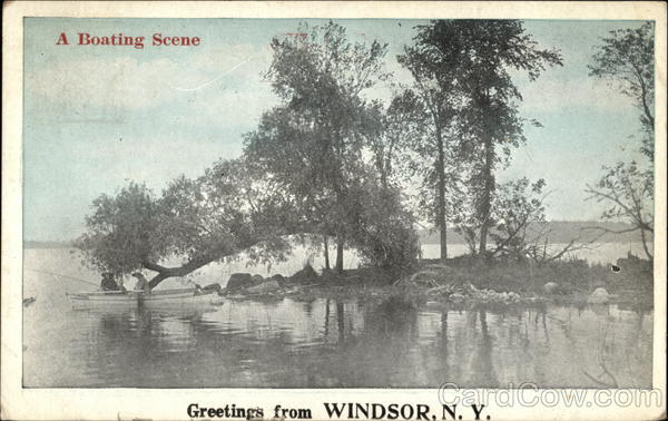 A Boating Scene, Greetings from Windsor, N.Y New York