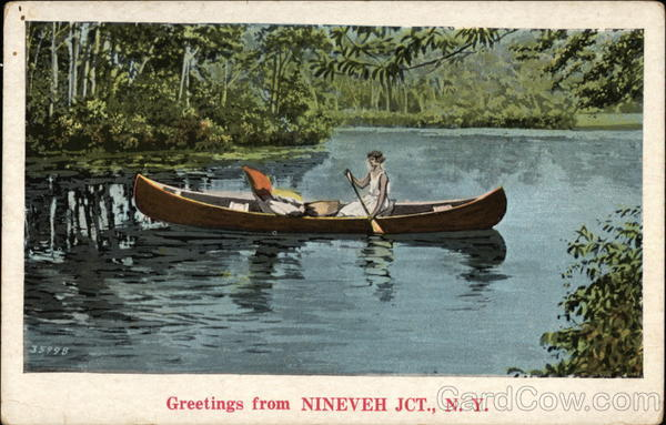 Lady in Canoe on Lake Nineveh Jct New York