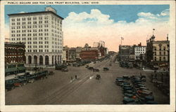 Public Square and the Lima Trust Building Postcard
