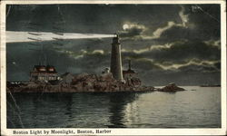 Boston Light by Moonlight, Boston Harbor