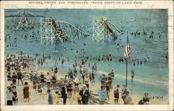 Sea Swing and Toboggans, Cedar Point on Lake Erie Postcard