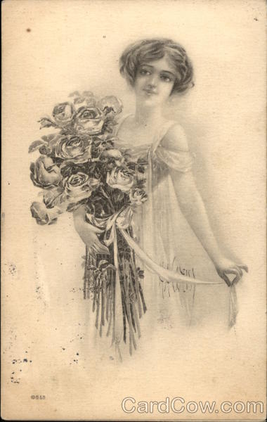 Portrait of Young Woman Holding Roses Women