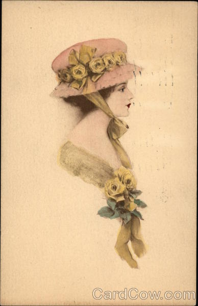 Profile of Woman in Pink & Yellow Hat Women